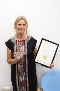 Dee Wyatt, ILLY Practitioner of the Year 2017, with her trophy and certificate. Dee Works at Inclusion's Recovery service in Eastleigh, Hampshire.